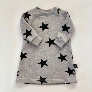 Nununu 6-12m Gray Star Sweatshirt Dress